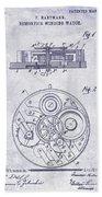 1908 Pocket Watch Patent Blueprint Beach Towel