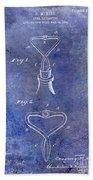 1909 Cork Extractor Patent Blue Beach Towel