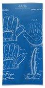 1910 Baseball Glove Patent Artwork Blueprint Beach Towel