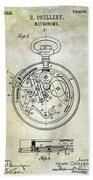 1913 Pocket Watch Patent Beach Towel