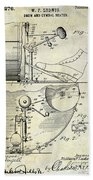 1914 Drum And Cymbal Patent Beach Towel