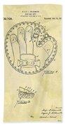 1916 Baseball Glove Patent Beach Towel