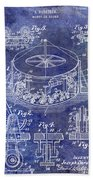 1916 Merry Go Round Patent Blue Beach Towel