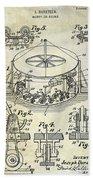 1916 Merry Go Round Patent Beach Towel
