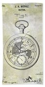 1916 Pocket Watch Patent Beach Towel