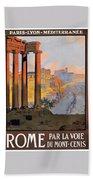 1920 Paris To Rome Train Travel Poster Beach Towel
