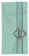 1920s Blue Deco Jazz Swing Monogram ...letter W Beach Towel