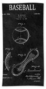 1924 Baseball Patent Illustration Beach Towel