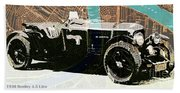 1930 Bentley 4.5 Litre Over New Orleans Old Map Beach Towel