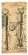 1930 Gas Pump Patent In Sepia Beach Towel