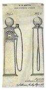 1933 Gas Pump Patent Beach Towel