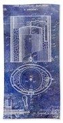 1935 Beer Equipment Patent Blue Beach Towel