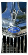 1935 Ford V8 Hood Ornament 2 Beach Towel