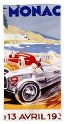1936 F1 Monaco Grand Prix  Beach Towel by Georgia Fowler