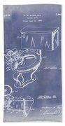 1936 Toilet Bowl Patent Blue Grunge Beach Towel