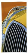 1937 Plymouth Hood Ornament 2 Beach Towel