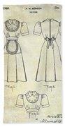 1940 Waitress Uniform Patent Beach Towel