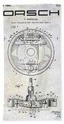 1941 Porsche Brake Mechanism Patent Beach Towel