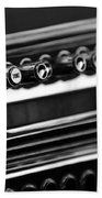 1947 Cadillac Radio Black And White Beach Towel