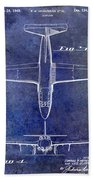 1949 Airplane Patent Drawing Blue Beach Towel
