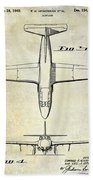 1949 Airplane Patent Drawing Beach Towel
