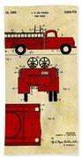 1950 Red Firetruck Patent Beach Sheet