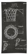 1951 Basketball Net Patent Artwork - Gray Beach Towel