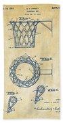 1951 Basketball Net Patent Artwork - Vintage Beach Towel