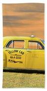 1951 Plymouth Sedan 'yellow Cab' Beach Towel