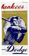 1953 Yankees Dodgers World Series Program Beach Towel