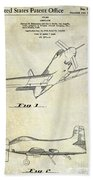 1955  Airplane Patent Drawing Beach Towel