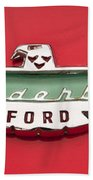 1956 Ford Thunderbird Emblem Beach Towel