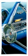 1956 Ford Thunderbird Steering Wheel And Emblem Beach Towel