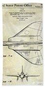 1956 Jet Airplane Patent 2 Blue Beach Towel
