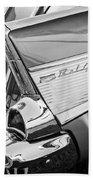 1957 Chevrolet Bel Air Tail Light Emblem -0140bw Beach Towel
