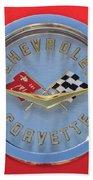 1958 Chevrolet Corvette Emblem Beach Towel