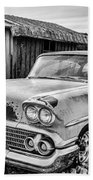 1958 Chevy Del Ray In Black And White Beach Towel