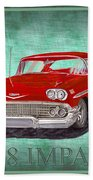 1958 Impala By Chevrolet Beach Towel