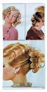 1960 70 Stylish Female Hair Styles Golden Blond Beach Towel