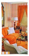 1960 70 Stylish Living Room Advertisement Orange And Stripes Groovy Baby Beach Towel