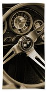 1963 Chevrolet Corvette Steering Wheel - Sepia Beach Towel