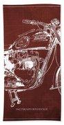 1963 Triumph Bonneville, Blueprint Red Background Beach Towel