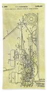 1966 Riding Mower Patent Beach Towel
