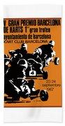 1967 Barcelona Kart Racing Poster Beach Towel