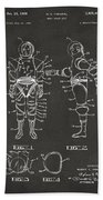 1968 Hard Space Suit Patent Artwork - Gray Beach Towel by Nikki Marie Smith