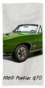 1969 Green Pontiac Gto Convertible Beach Towel