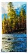 Nature Oil Painting Landscape Beach Towel