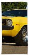 1970 Hemi 'cuda - Lemon Twist Yellow Beach Towel
