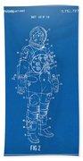 1973 Astronaut Space Suit Patent Artwork - Blueprint Beach Towel