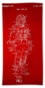 1973 Astronaut Space Suit Patent Artwork - Red Beach Towel by Nikki Marie Smith